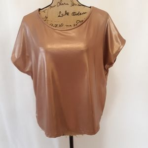 Zara metallic rose gold boxy top 8